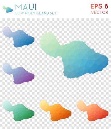Maui geometric polygonal maps, mosaic style island collection. Dazzling low poly style, modern design. Illustration