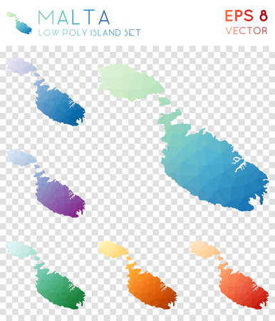 Malta geometric polygonal maps, mosaic style island collection. Curious low poly style, modern design. Illustration