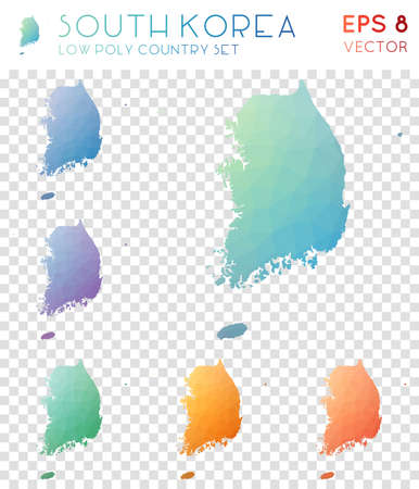 South Korea geometric polygonal maps, mosaic style country collection. Overwhelming low poly style, modern design. South Korea polygonal maps for infographics or presentation. Illusztráció