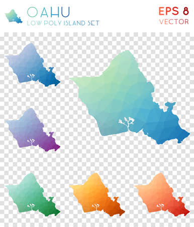 Oahu geometric polygonal maps, mosaic style island collection. Exceptional low poly style, modern design. Oahu polygonal maps for infographics or presentation.