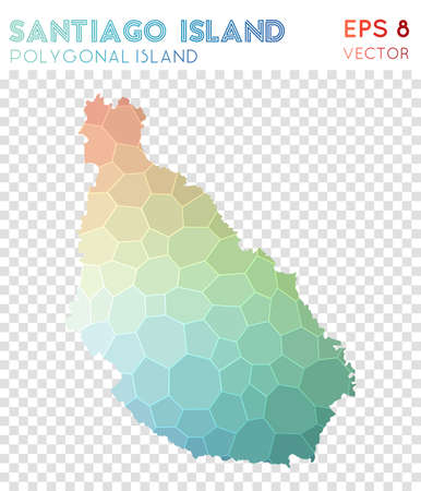 Santiago Island polygonal map, mosaic style island. Magnificent low poly style, modern design. Santiago Island polygonal map for infographics or presentation.