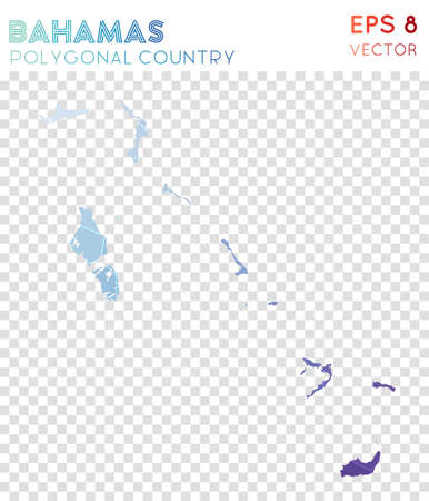Bahamas polygonal map, mosaic style country. Breathtaking low poly style, modern design. Bahamas polygonal map for infographics or presentation. Illustration