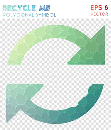 Recycle polygonal symbol. Actual mosaic style symbol. Good-looking low poly style. Modern design. Recycle icon for infographics or presentation.