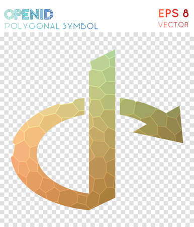 Opined polygonal symbol on Attractive mosaic style symbol. Neat low poly style on  Modern design.