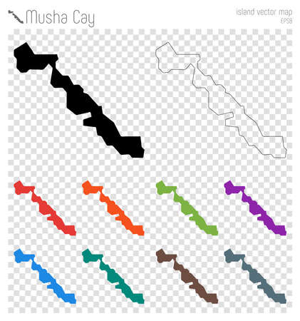 Musha Cay high detailed map. Island silhouette icon. Isolated Musha Cay black map outline. Vector illustration.