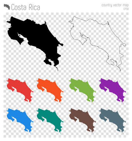 Costa Rica high detailed map. Country silhouette icon. Isolated Costa Rica black map outline. Vector illustration. Иллюстрация