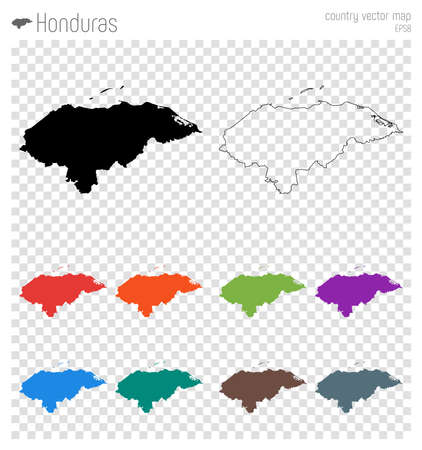 Honduras high detailed map. Country silhouette icon. Isolated Honduras black map outline. Vector illustration.