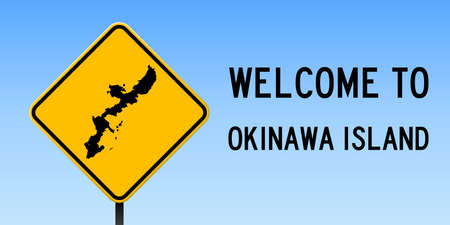 Okinawa Island map on road sign. Wide poster with Okinawa Island island map on yellow rhomb road sign. Vector illustration. 矢量图像