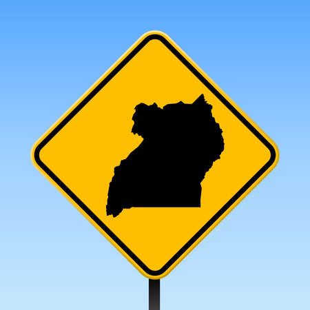 Uganda map on road sign. Square poster with Uganda country map on yellow rhomb road sign. Vector illustration.