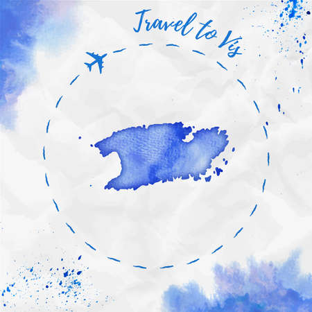 Watercolor island map in blue colors. Travel to  poster with airplane trace and hand painted watercolor map on crumpled paper. Vector illustration.