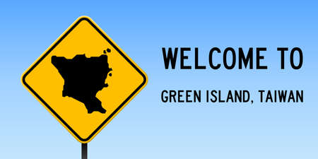 Green Island, Taiwan map on road sign. Wide poster with Green Island, Taiwan island map on yellow rhomb road sign. Vector illustration.