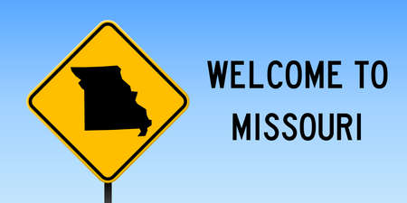 Missouri map on road sign. Wide poster with Missouri us state map on yellow rhomb road sign. Vector illustration.