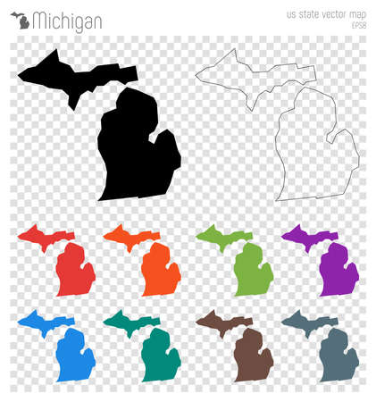 Michigan in silhouette icon collection. Иллюстрация