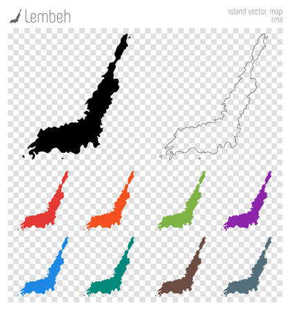 Lembeh high detailed map. Island silhouette icon. Isolated Lembeh black map outline. Vector illustration. Illustration