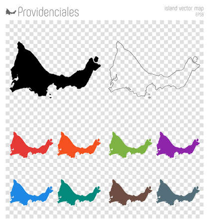 Providenciales high detailed map. Island silhouette icon. Isolated Providenciales black map outline. Vector illustration.