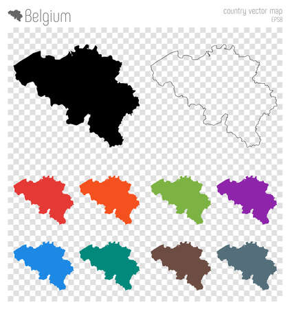 Belgium high detailed map. Country silhouette icon. Isolated Belgium black map outline. Vector illustration. Illustration