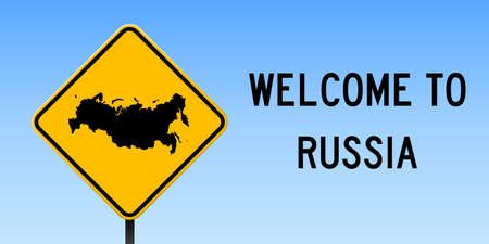 Russia map on road sign. Wide poster with Russia country map on yellow rhomb road sign. Vector illustration. Çizim
