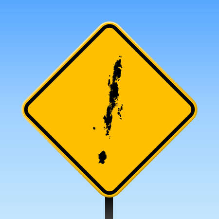 Andaman Islands map on road sign. Square poster with Andaman Islands island map on yellow rhomb road sign. Vector illustration.