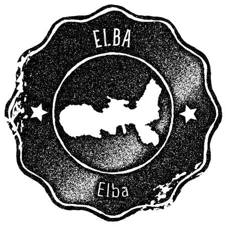 Elba map vintage stamp. Retro style handmade label, badge or element for travel souvenirs. Black rubber stamp with island map silhouette. Vector illustration.