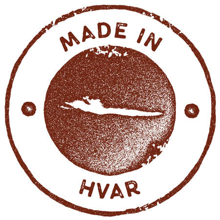 Hvar map vintage stamp. Retro style handmade label, badge or element for travel souvenirs. Red rubber stamp with island map silhouette. Vector illustration.
