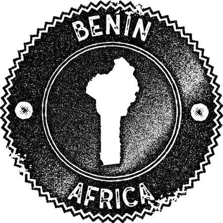 Benin map vintage stamp. Retro style handmade label, badge or element for travel souvenirs. Dark blue rubber stamp with country map silhouette. Vector illustration. 矢量图像