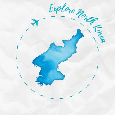 North Korea watercolor map in turquoise colors.