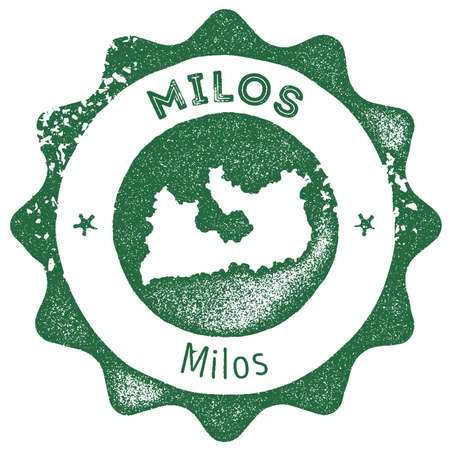 Milos map vintage stamp. Retro style handmade label, badge or element for travel souvenirs. Dark green rubber stamp with island map silhouette. Vector illustration. Illustration