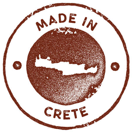 Crete map vintage stamp. Retro style handmade label, badge or element for travel souvenirs. Red rubber stamp with island map silhouette. Vector illustration.