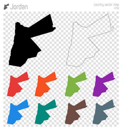 Mappa dettagliata alta Giordania. Icona della siluetta del paese. Contorno isolato nero della mappa della Giordania. Illustrazione vettoriale