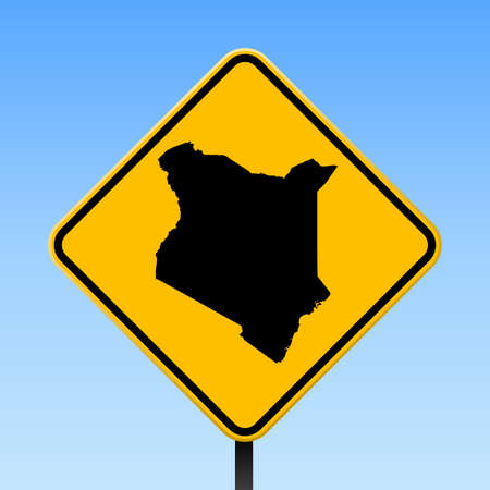 Kenya map on road sign. Square poster with Kenya country map on yellow rhomb road sign. Vector illustration.  イラスト・ベクター素材