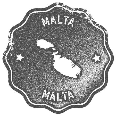 Malta map vintage stamp. Retro style handmade label, badge or element for travel souvenirs. Grey rubber stamp with island map silhouette. Vector illustration.