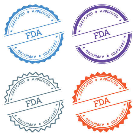 FDA Approved badge isolated on white background. Flat style round label with text. Circular emblem vector illustration. Stock Illustratie