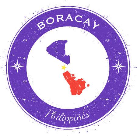 Distintivo patriottico circolare Boracay. Timbro di gomma di lerciume con la bandiera dell'isola, la mappa e il nome scritti lungo il confine del cerchio, illustrazione di vettore.