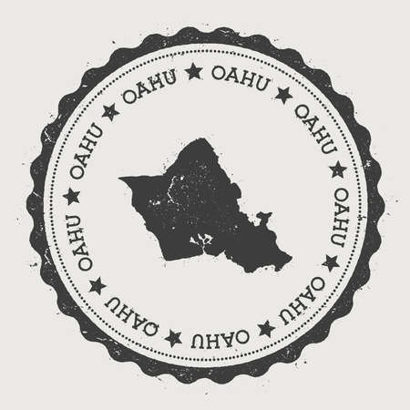 Oahu sticker with an island map illustration.