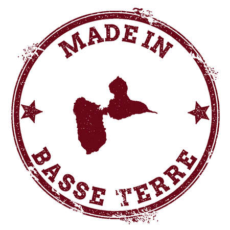 Basse-Terre Island seal. Vintage island map sticker. Grunge rubber stamp with Made in text and map outline, vector illustration.