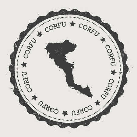 Corfu sticker. Hipster round rubber stamp with island map. Vintage passport sign with circular text and stars, vector illustration. Illustration