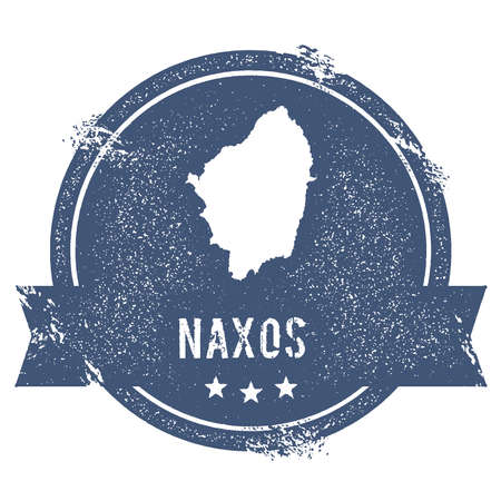 Naxos logo sign. Travel rubber stamp with the name and map of island, vector illustration. Can be used as insignia, logotype, label, sticker or badge. Illustration