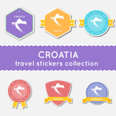 Croatia travel stickers collection. Big set of stickers with country map and name. Flat material style badges vector illustration.