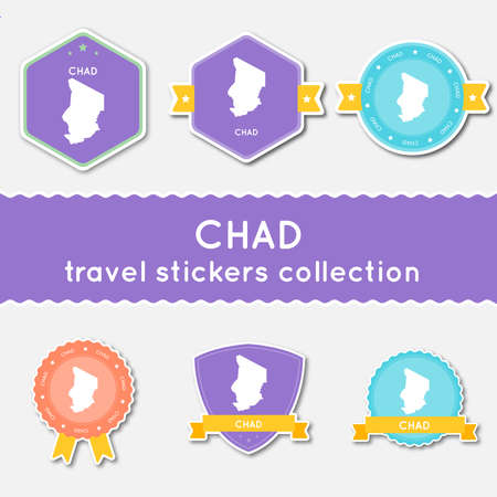 Chad travel stickers collection. Big set of stickers with US state map and name. Flat material style badges vector illustration.