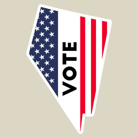 USA presidential election 2016 vote sticker. Nevada state map outline with US flag. Vote sticker vector illustration.