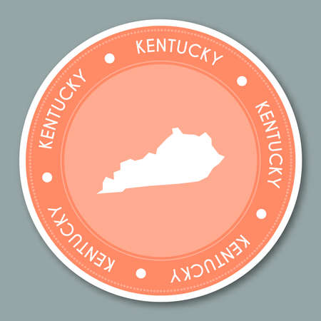 Kentucky round badge sticker flat design illustration.