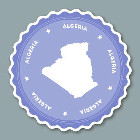 Algeria round badge sticker flat design illustration.