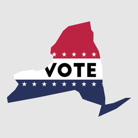 Presidential election 2016 vote sticker with New York state map outline with US flag.