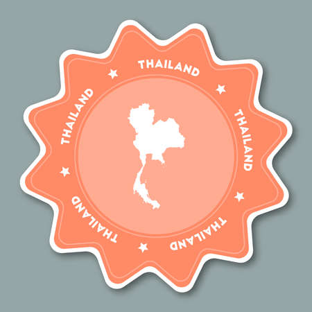 Thailand map sticker in trendy colors. Star shaped travel sticker with country name and map. Can be used as logo, badge, label, tag, sign, stamp or emblem. Travel badge vector illustration.
