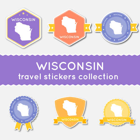 Wisconsin travel stickers collection. Big set of stickers with US state map and name. Flat material style badges vector illustration. Ilustração