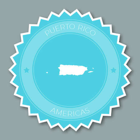 Puerto Rico badge flat design. Round flat style sticker of trendy colors with country map and name. Country badge vector illustration.
