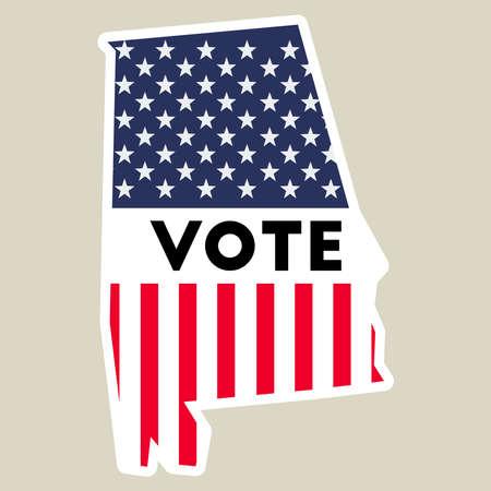 USA presidential election 2016 vote sticker. Alabama state map outline with US flag. Vote sticker vector illustration. Ilustrace