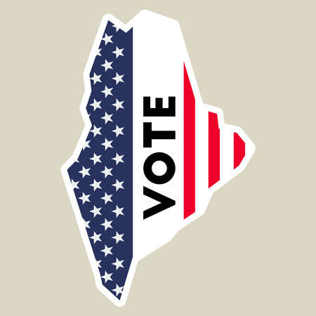 USA presidential election 2016 vote sticker. Maine state map outline with US flag. Vote sticker vector illustration.