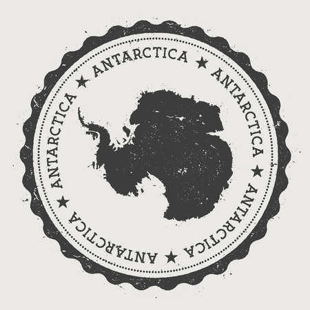 Antarctica hipster round rubber stamp with country map. Vintage passport stamp with circular text and stars, vector illustration. Vettoriali