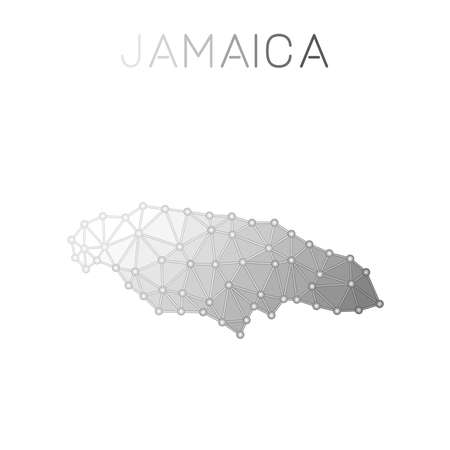 Jamaica polygonal vector map, molecular structure country map design. Network connections polygonal Jamaica map in geometric style for your infographics.